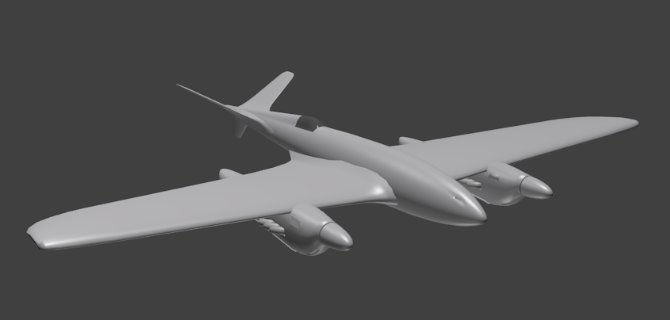 Twin-engine plane prototype in Blender.