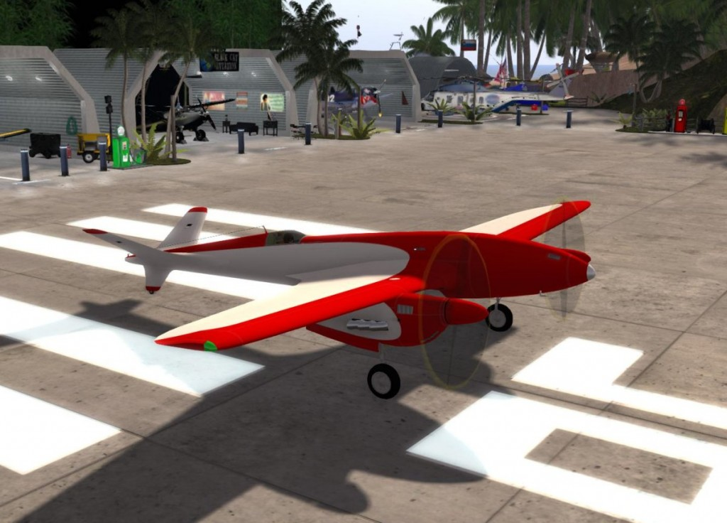 Terra Twin prototype waiting on the runway at Blue Sky in Montbard, Second Life.