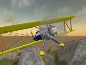 A Second Life biplane from 2004