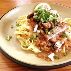 Porky pasta with lemon recipe